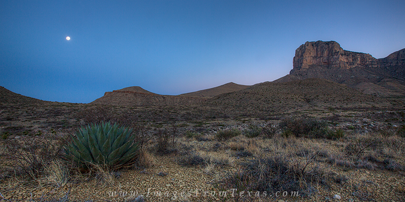 On a serene morning at the base of El Capitan and the Guadalupe mountains, this panorama image captures the setting moon over...