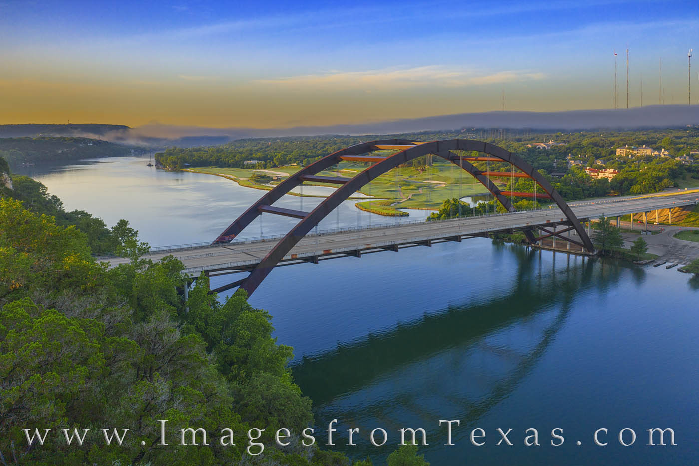 360 Bridge, drone, aerial, pennybacker bridge, sunrise, fog, clouds, colorado river, photo