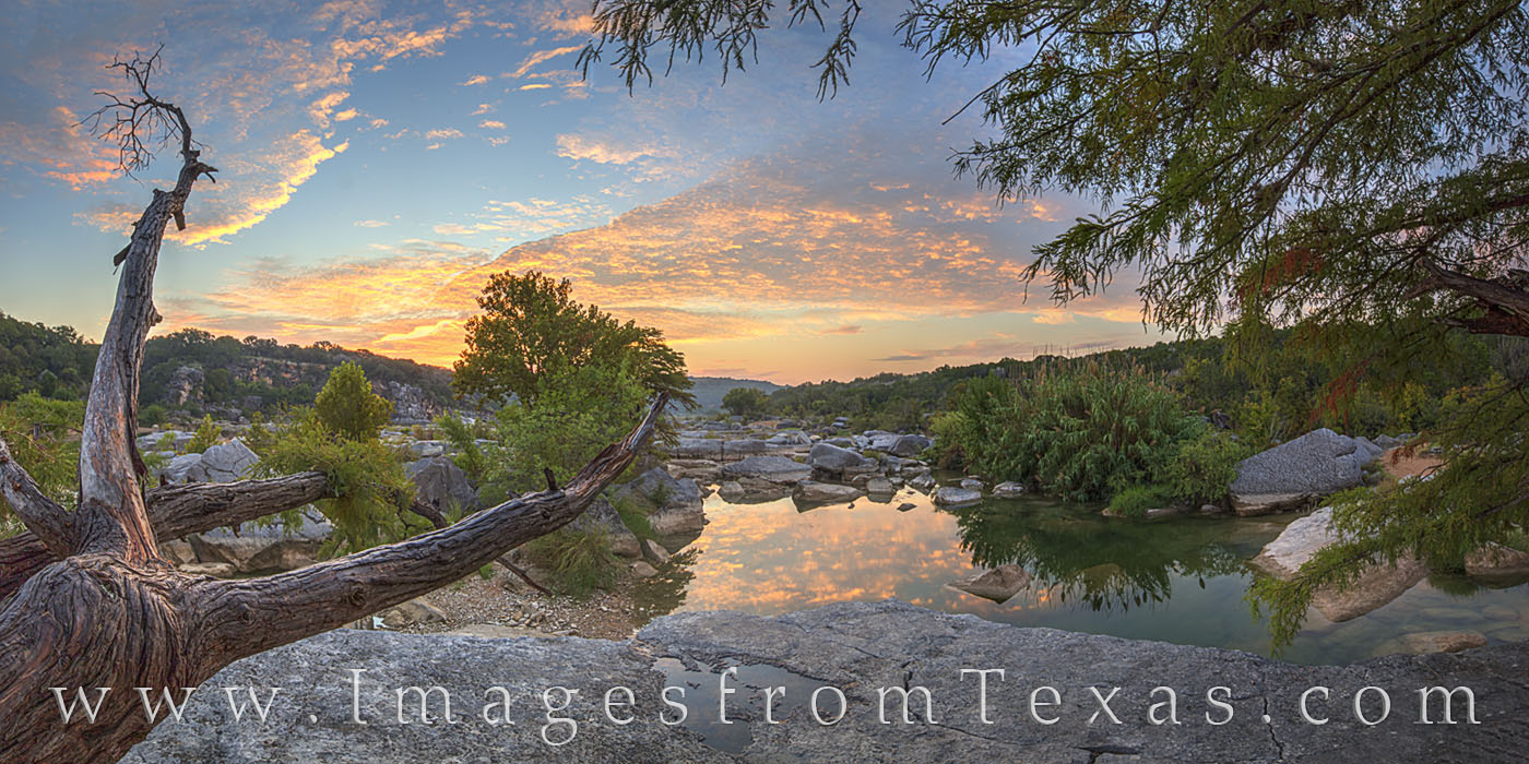 texas hill country, hill country, sunrise, texas landscapes, pano, panorama, pedernales falls, pedernales, pedernales river, morning, peace