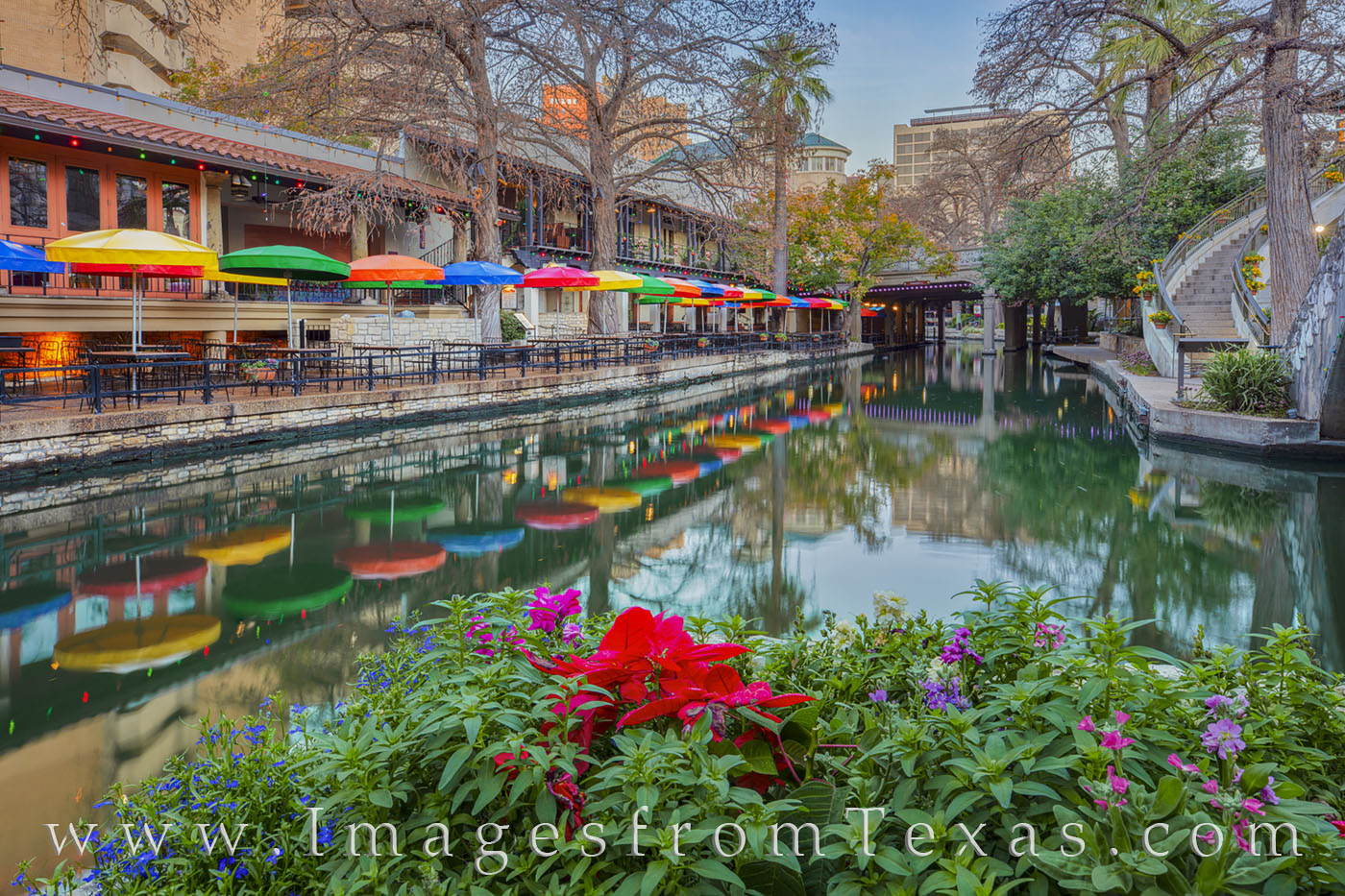 riverwalk, casa rio, san antonio river, flowers, morning, tex-mex, tourism, downtown, photo