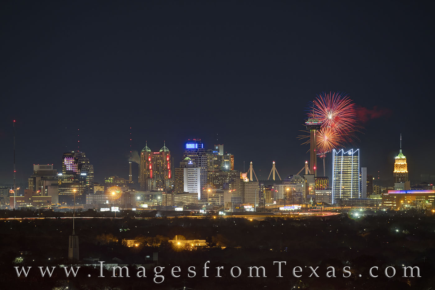san antonio, skyline, frost tower, frost bank, tower of the americas, tower, night, high rises, texas skylines, winter, fireworks, new years eve, photo