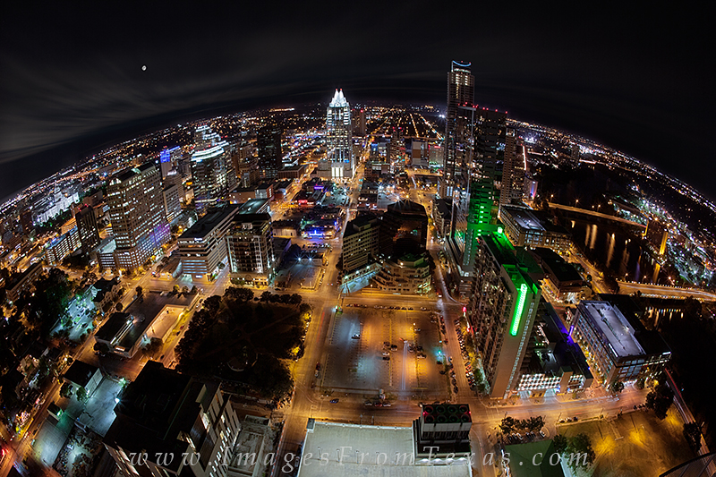 austin cityscape,austin with a fisheye,austin texas photos,downtown austin photos,austin skyline stock photography, photo