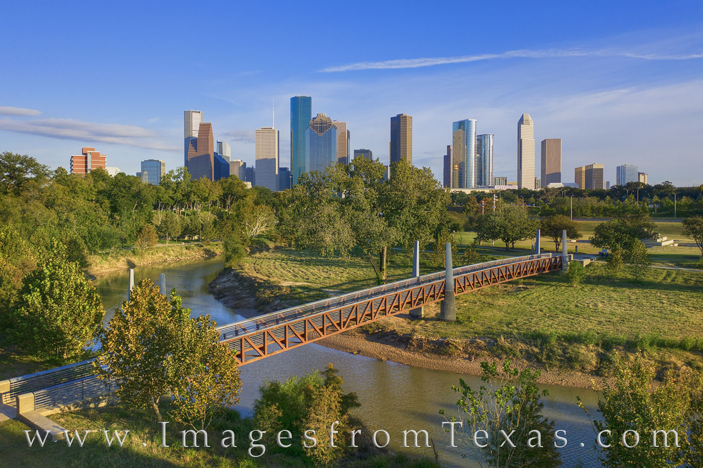 houston, skyline, afternoon, buffalo bayou, park, green, city, downtown aerial, photo