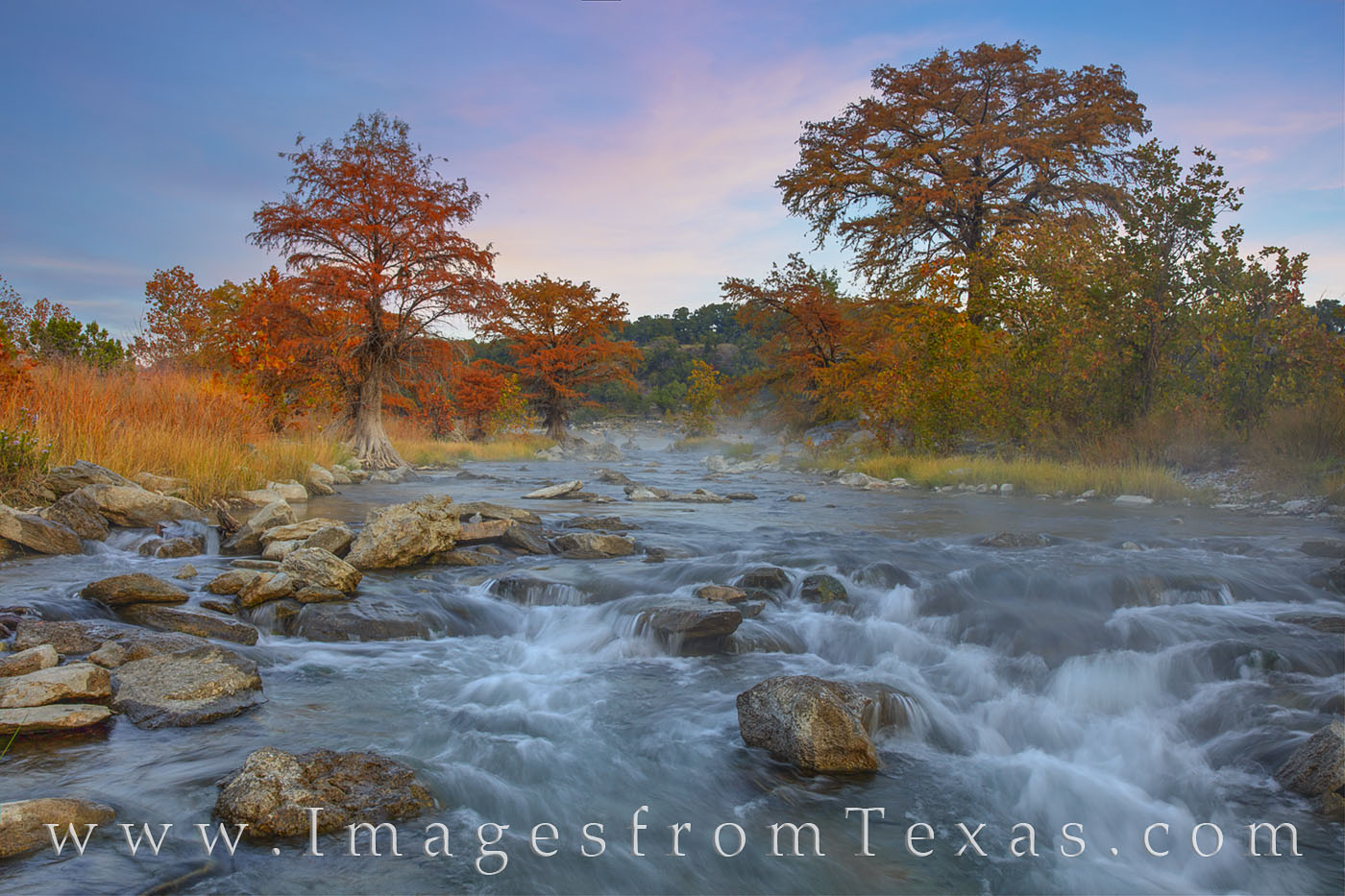 pedernales river, fall autumn, hill country, sunrsise, water, cypress, orange, november, fall color, photo