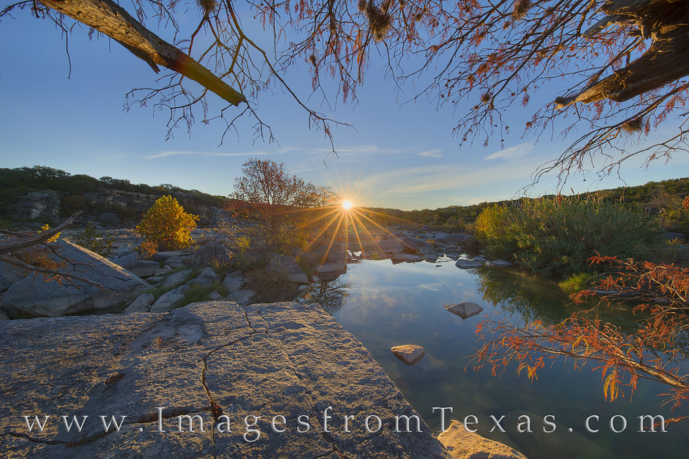texas hill country, texas sunrise, autumn colors, fall colors, texas autumn, pedernales river, pedernales falls, texas landscapes, photo