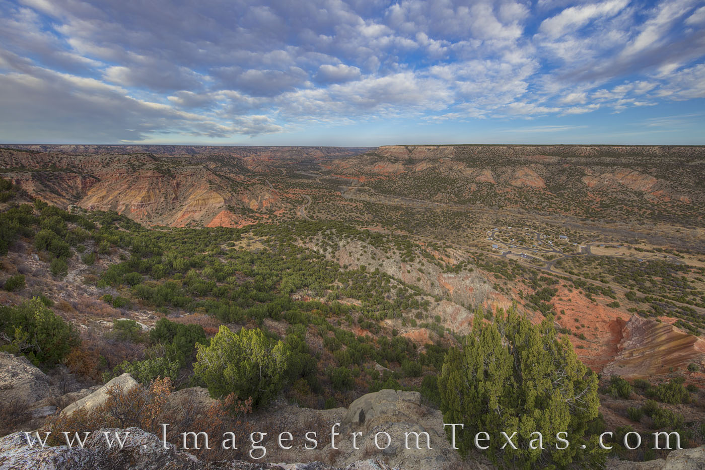 From the edge of the canyon rim in Palo Duro Canyon State Park in the Texas panhandle, the beautiful landscape spreads out across...