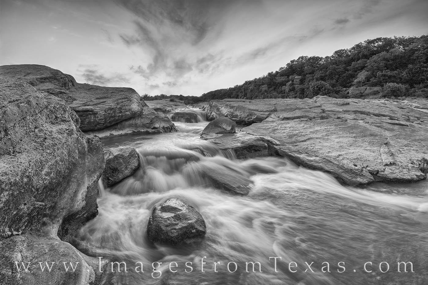 hill country, waterfall, cascade, summer, sunset, pedernales, texas state parks, hill country prints, black and white, photo