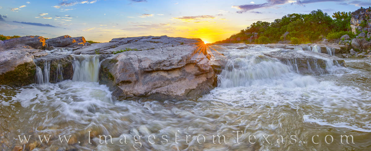 texas state parks, pedernales falls, waterfall, cascade, hill country, panorama, prints for sale, sunset, photo
