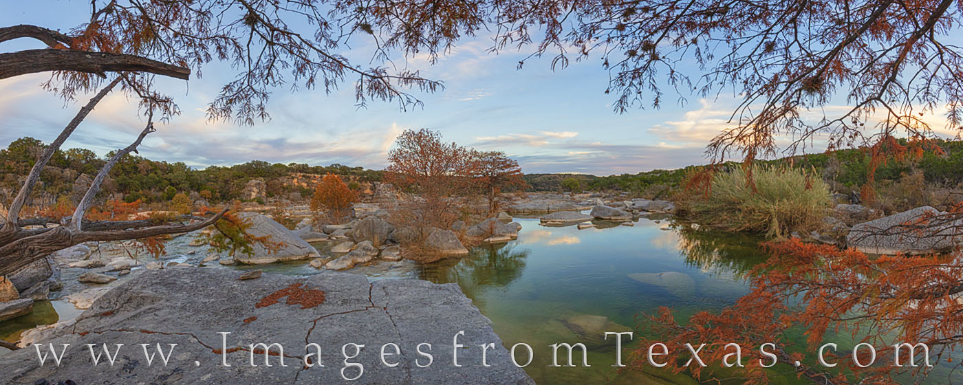pedernales river, pedernales falls, autumn colors, fall colors, evening, orange, hill country, texas hill country, photo