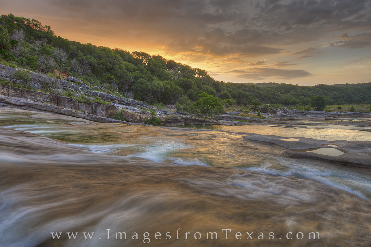 pedernales river, texas sunrise, pedernales falls, pedernales falls state park, texas state parks, texas hill country, texas hill country images, hill country photos, texas, sunrise, summer, photo