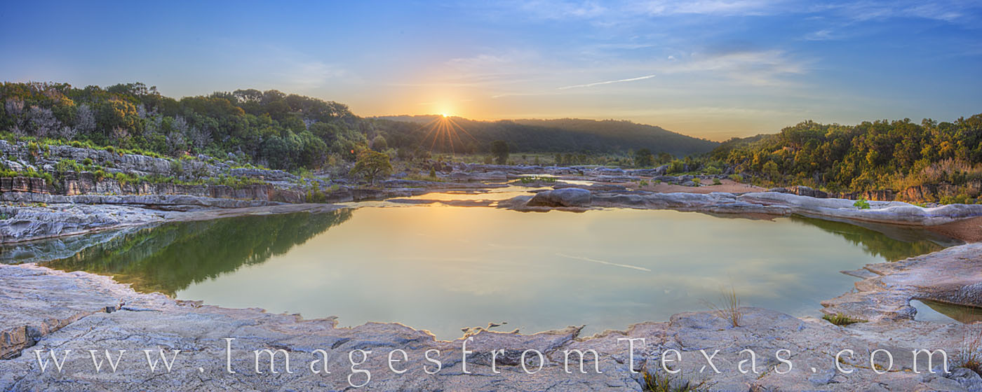 This panorama comes from one of the tranquil pools of Pedernales Falls. In summer, the falls diminish to a small cascade, leaving...