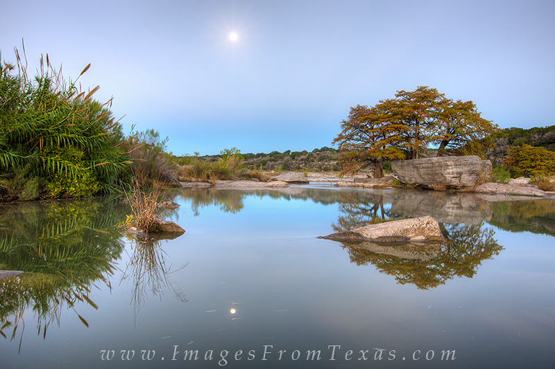 texas hill country,pedernales falls state park,pedernales falls,moonset,cypress trees, photo