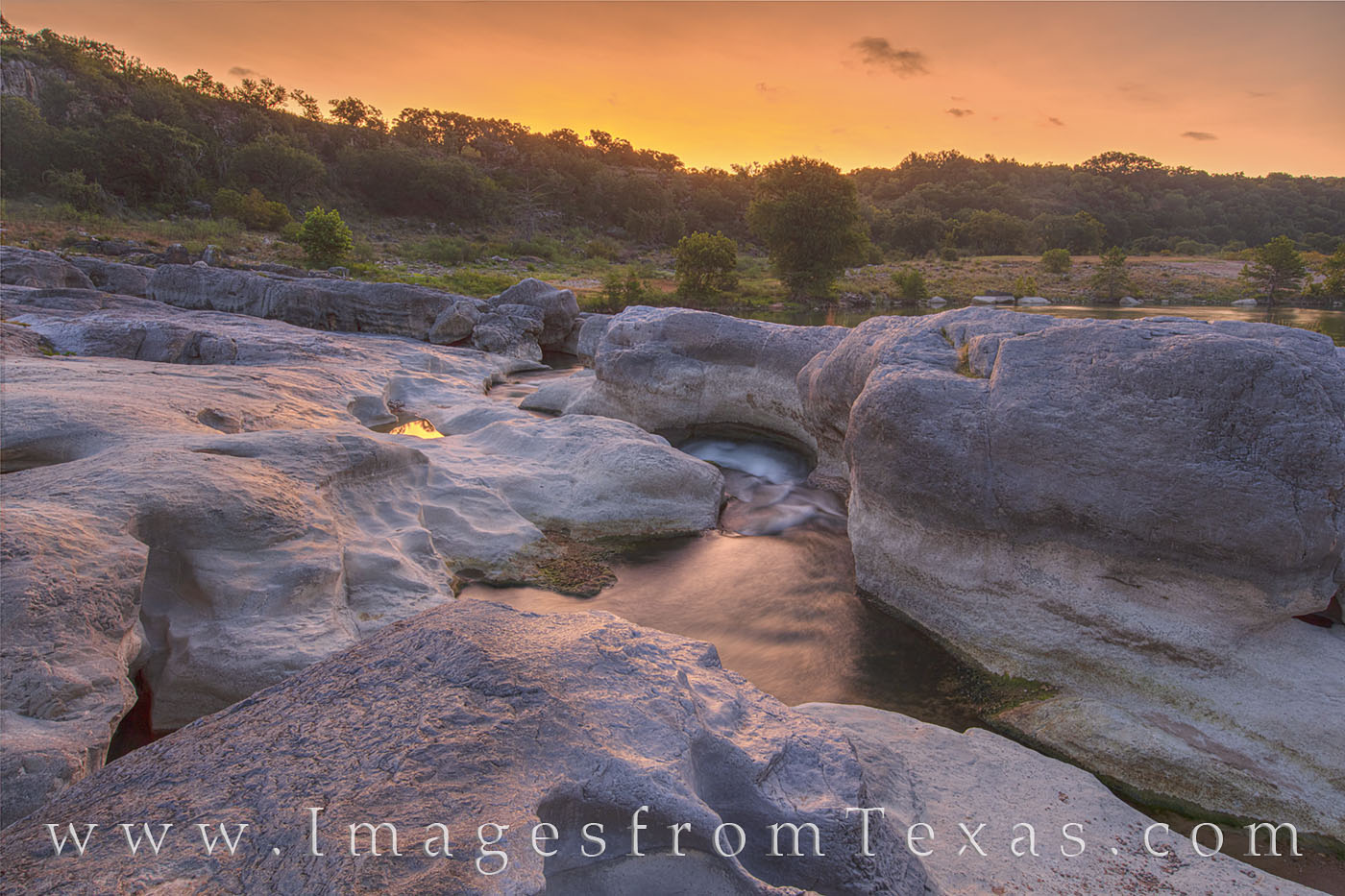 pedernales falls state park, pedernales river, sunrise, water, river, orange, state park, texas hill country, solitude, peace, photo