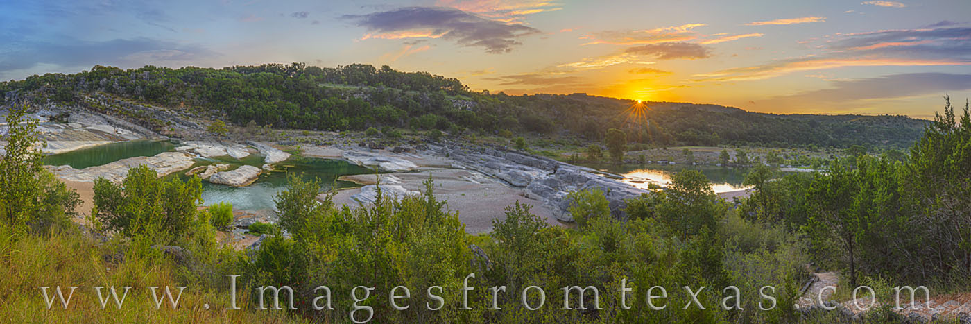 texas hill country, pedernales river, pedernales falls, state park, texas parks, morning, sunrise, water, river, panorama, sunburst, photo
