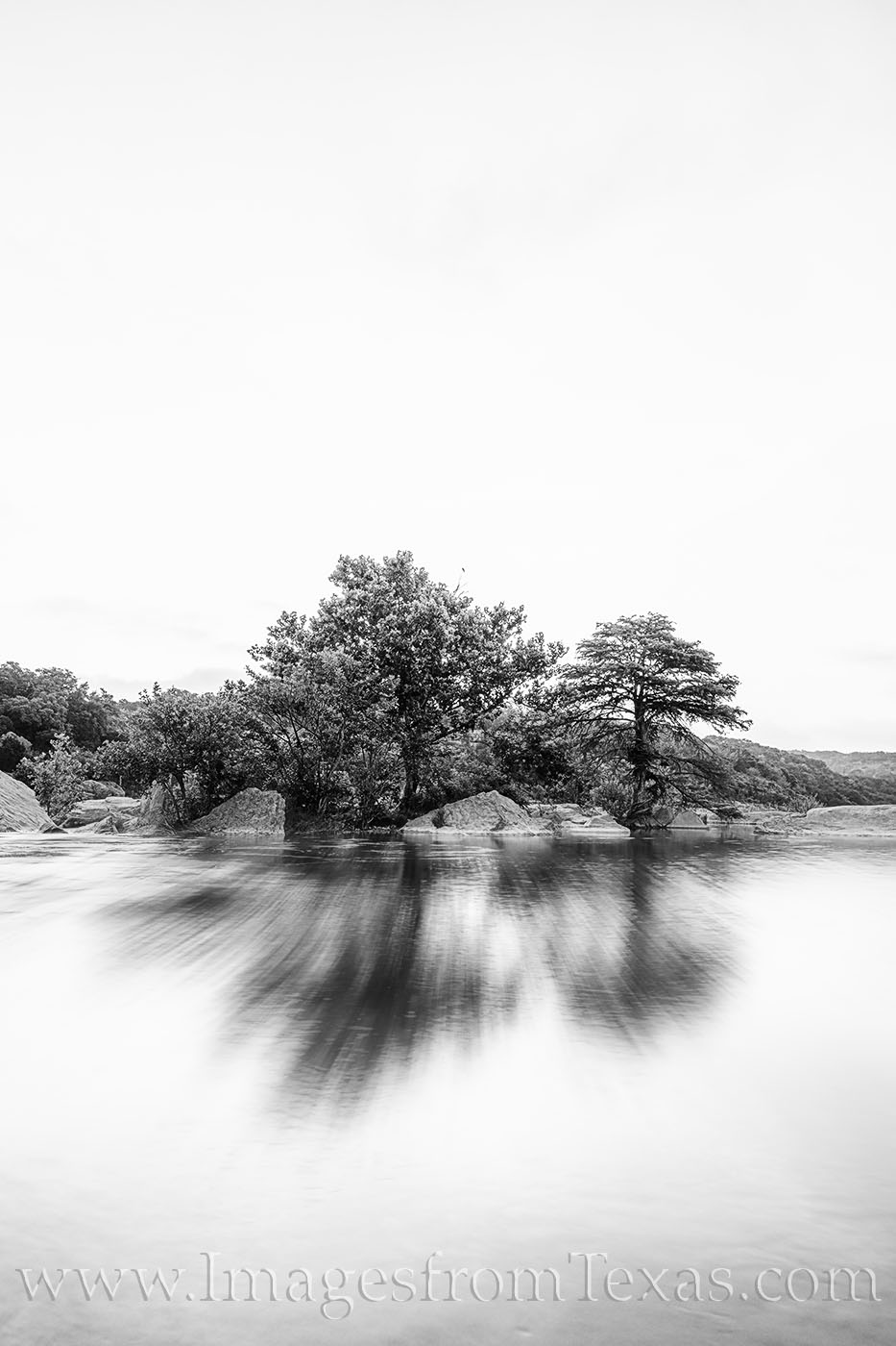 black and white, pedernales, river, morning, white, still, photo
