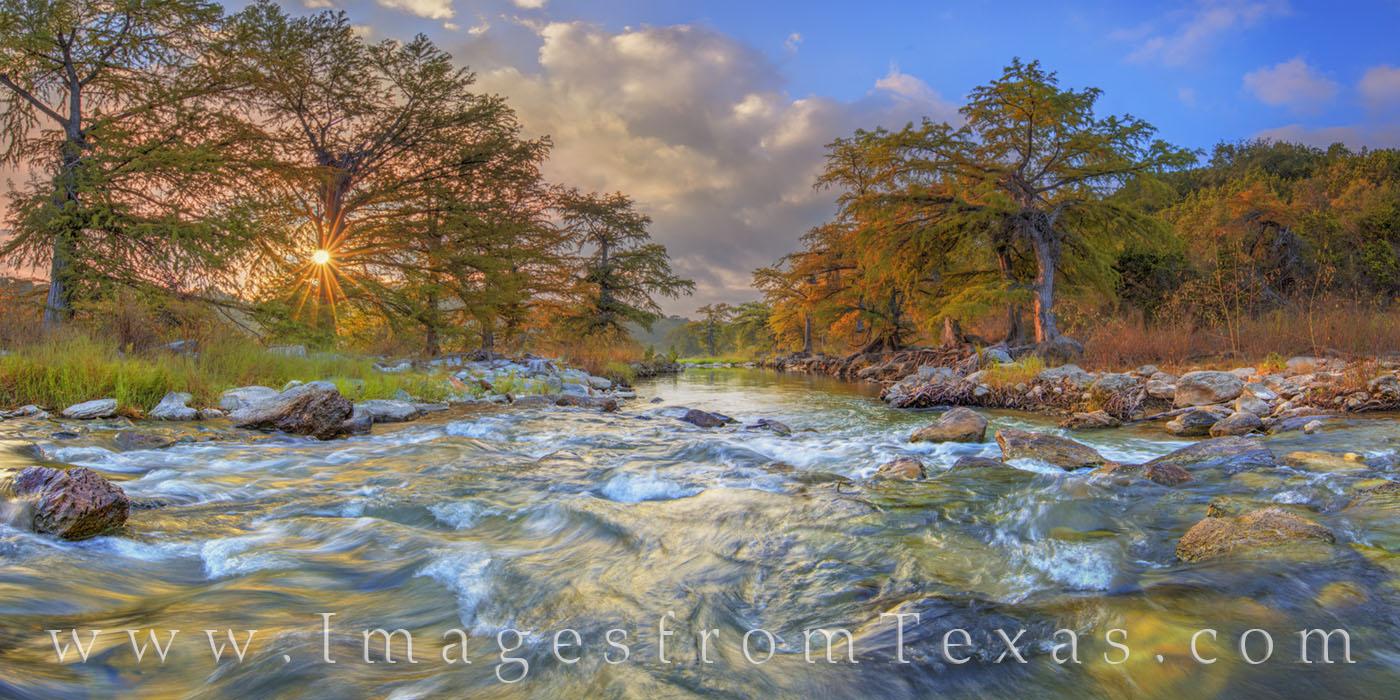 texas hill country, pedernales, pedernales river, pedernales falls, panorama, sunrise, texas landscapes, texas panoramas, photo