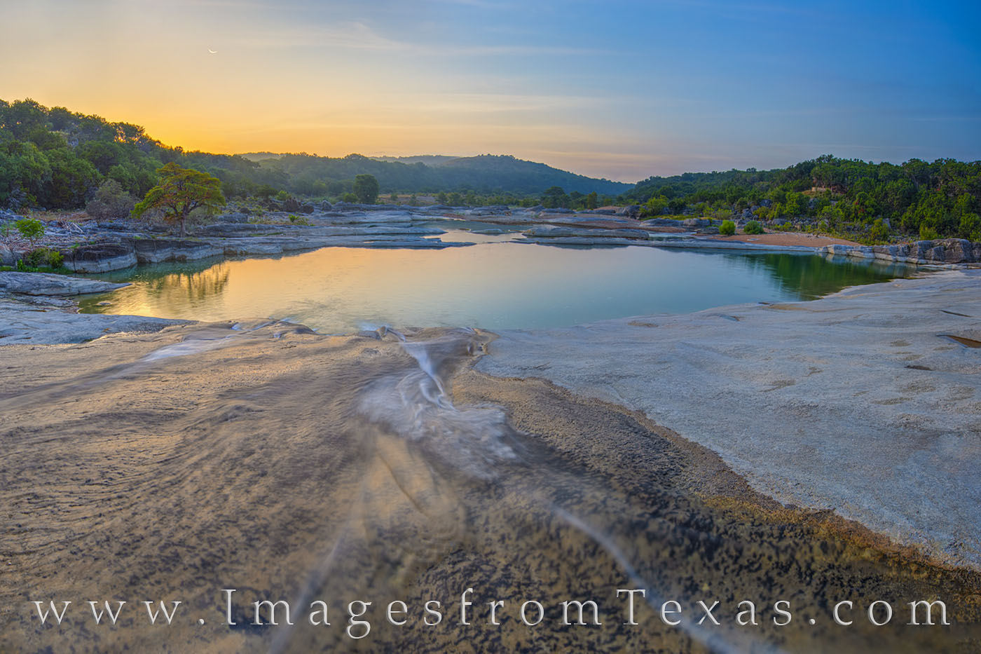 pedernales river, water, river, state park, crescent moon, moon, sunrise, peace, solitude, hill country, photo