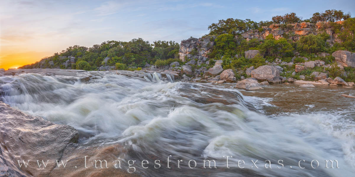 pedernales river, pedernales falls state park, texas hill country, rapids, sunset, evening, cascade, photo