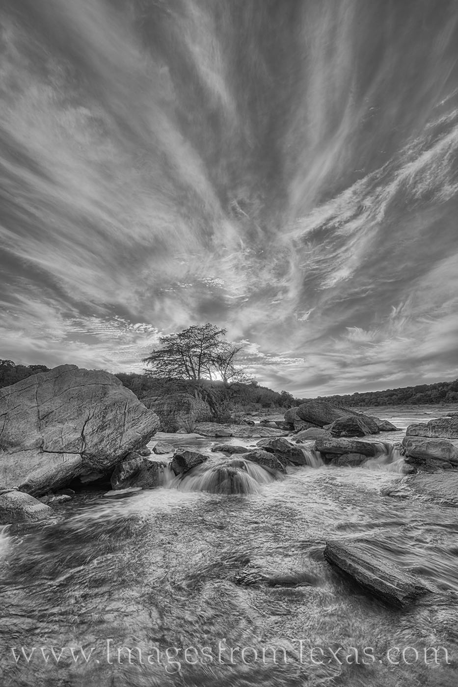 black and white, pedernales river, texas hill country, pedernales falls state park, sunset, water, rapids, waterfall, photo