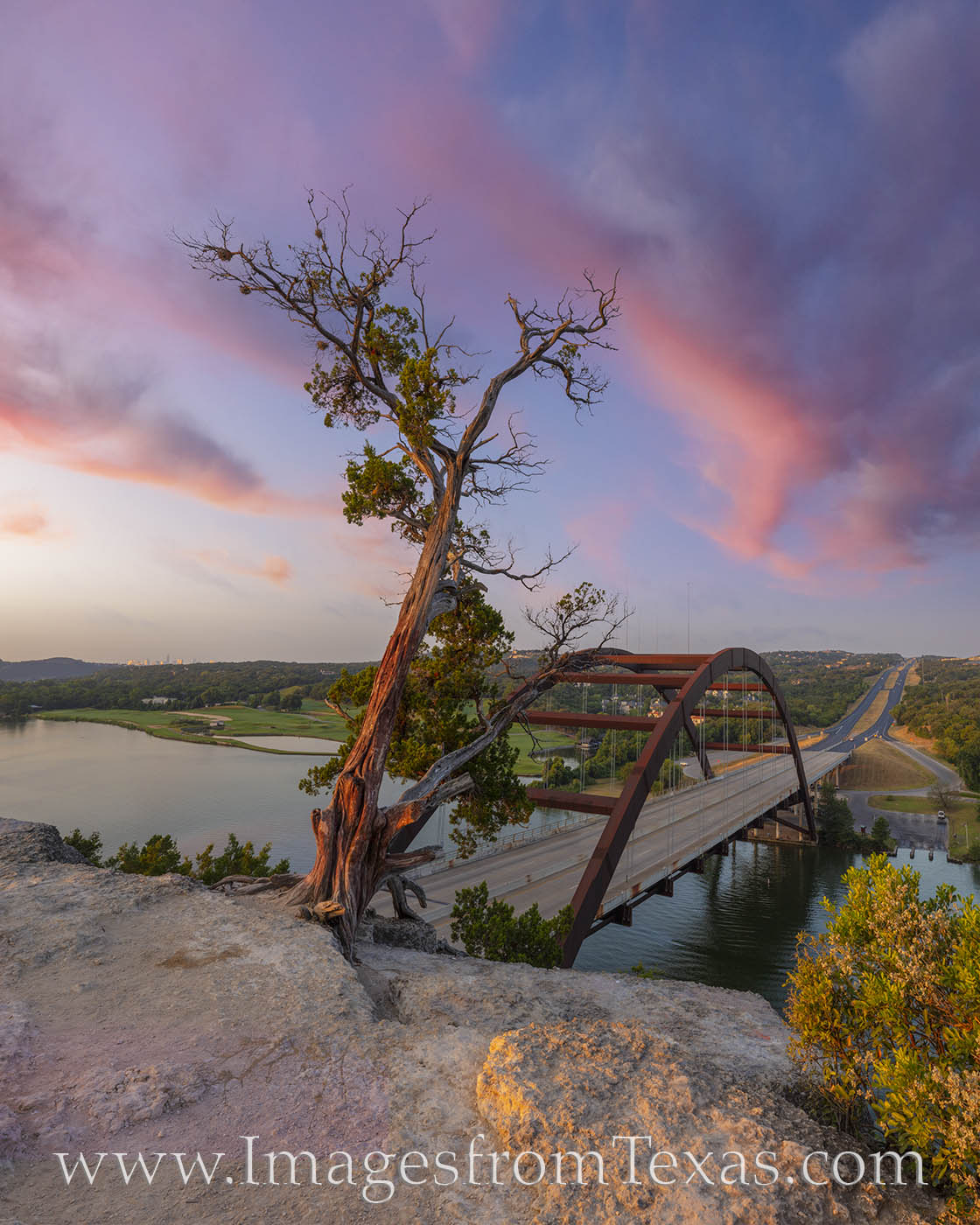 360 Bridge, Pennybacker Bridge, Austin icons, austin bridges, colorado river, sunrise, one tree, austin tx, photo