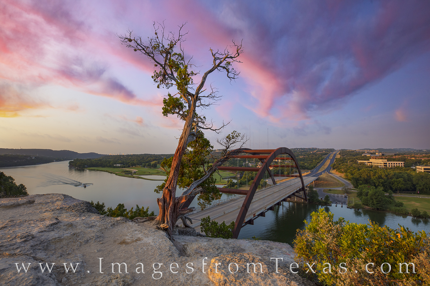 From a quiet vantage point above Pennybacker Bridge (also called the 360 Bridge), this view is one of the best around Austin....