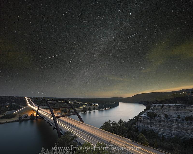 360 bridge,perseid meteor shower,milky way,austin texas images,360 bridge images,360 bridge prints,texas night skies, photo