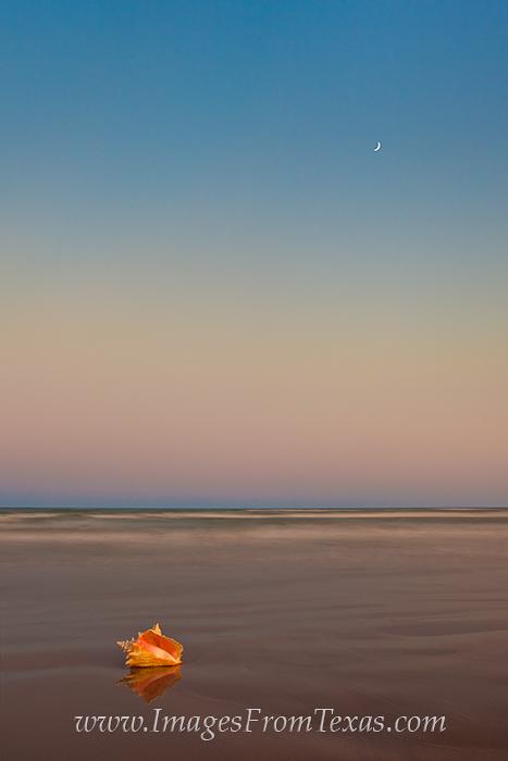 The moon sets along the seashore on Mustang Island near Port Aransas, Texas.