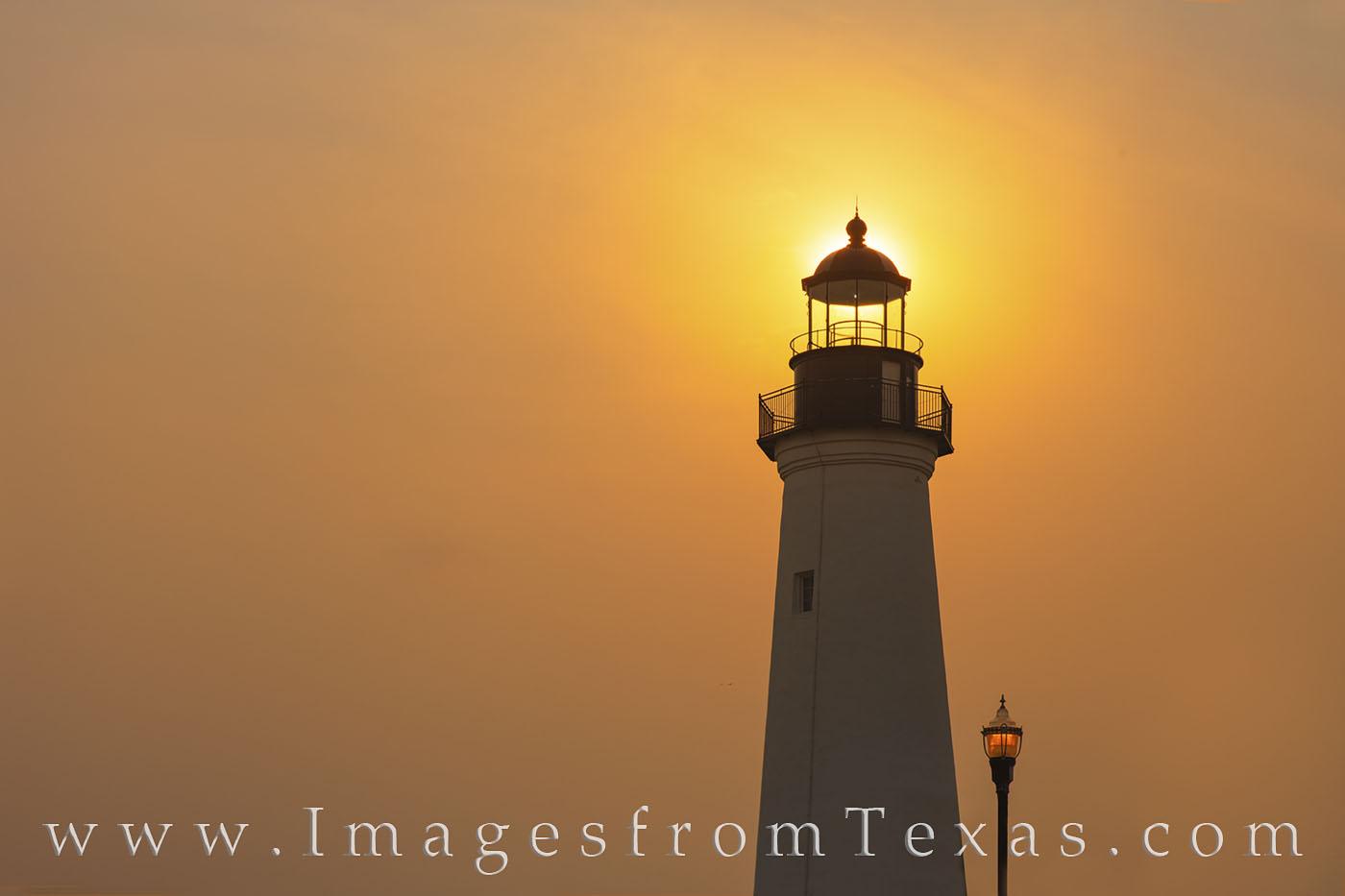 port isabel, lighthouse, sunrise, fog, orange, texas coast, historical, south padre, photo