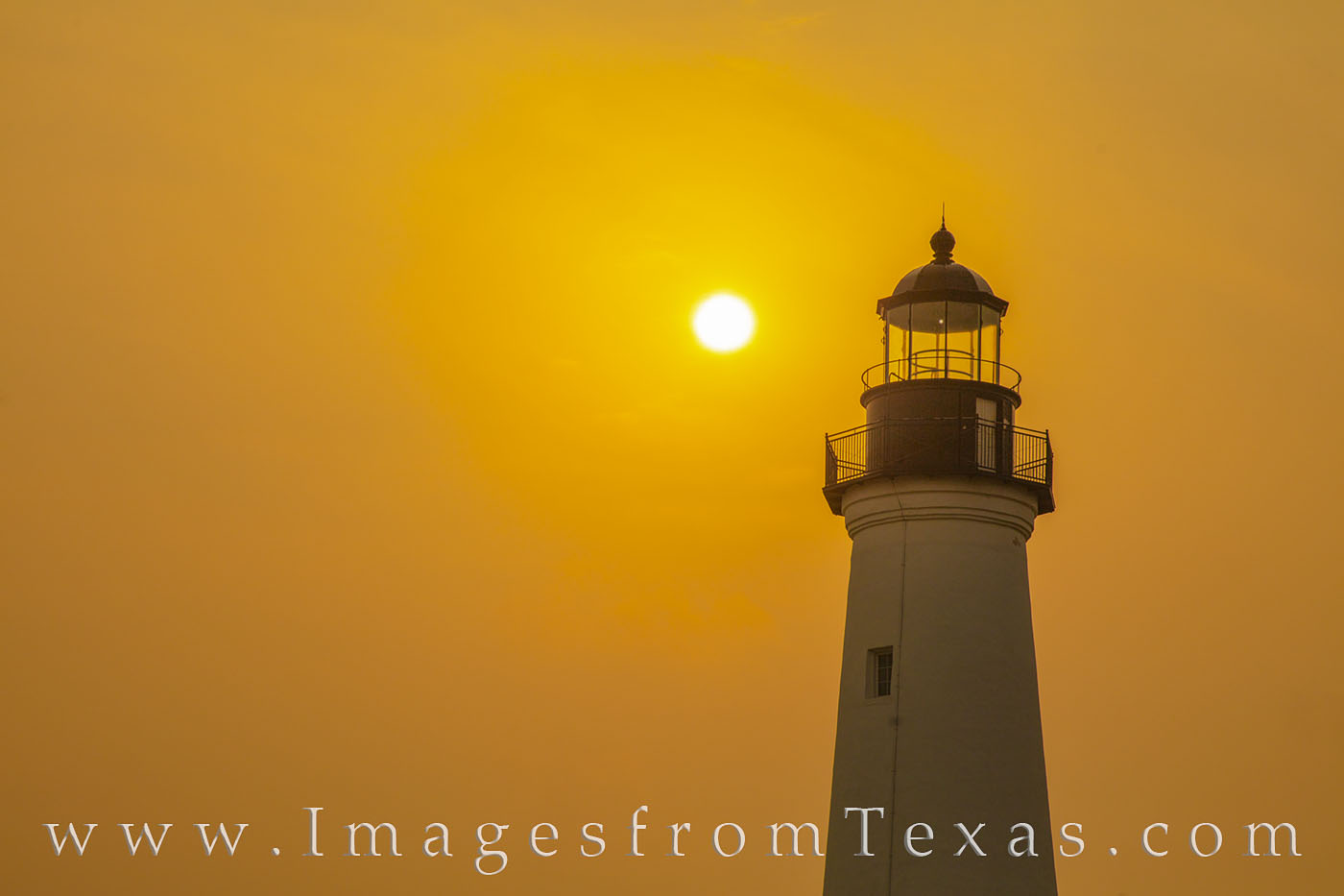 port isabel, lighthouse, sunrise, fog, orange, texas coast, historical, south padre, photo