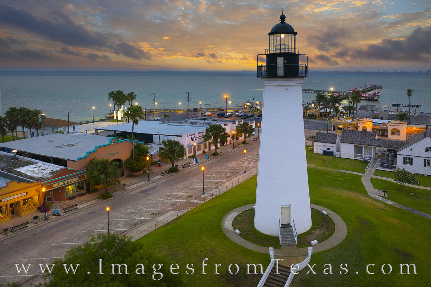 The historic Port Isabel Lighthouse stands tall in this aerial photograph taken a little before sunrise. The historic lighthouse...
