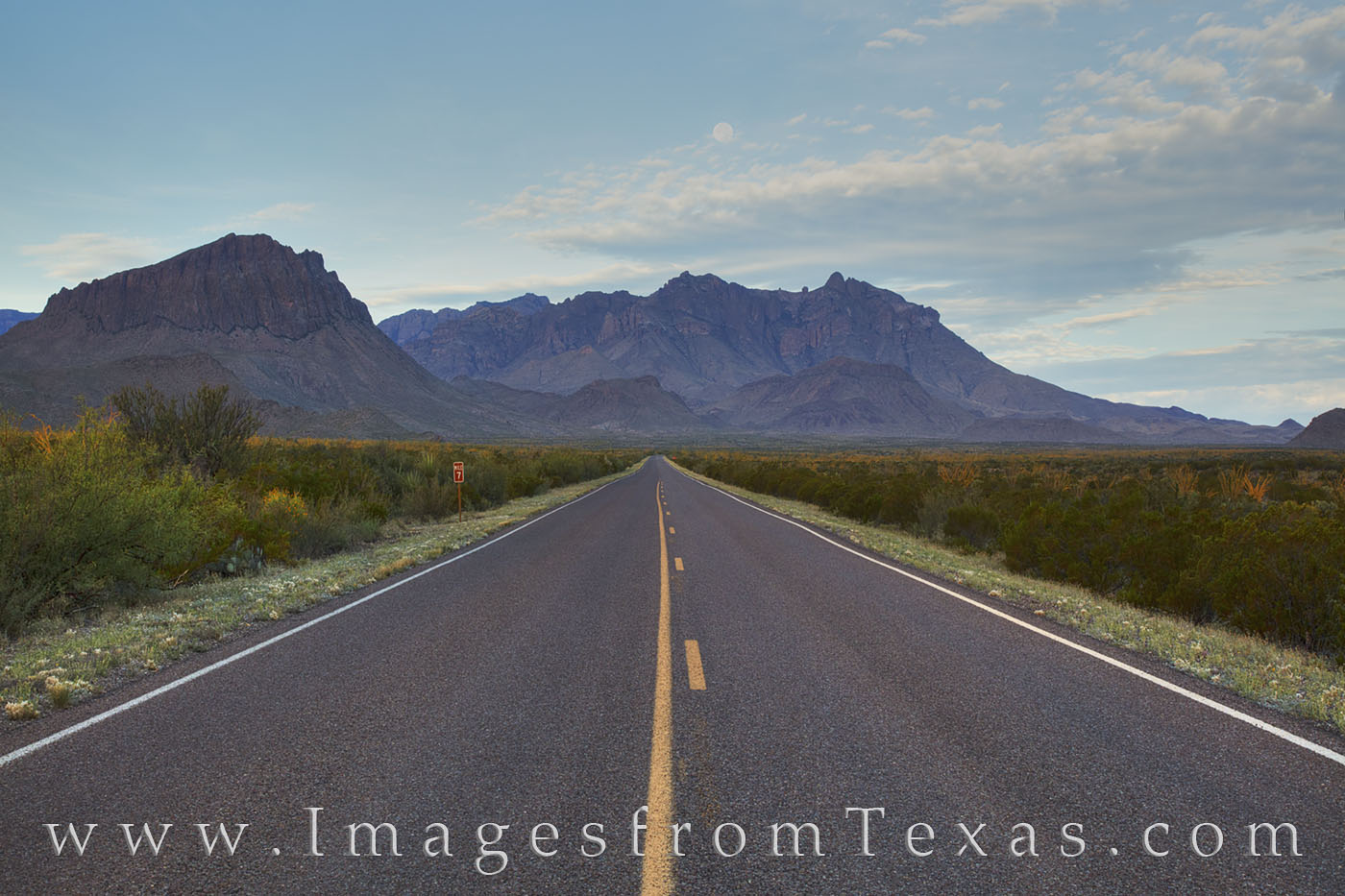 Chisos mountains, big bend national park, panorama, road ocotillo, moonset, sunrise, chihuahuan desert, texas landscapes, texas hikes, chisos images, big bend images, texas national parks, photo