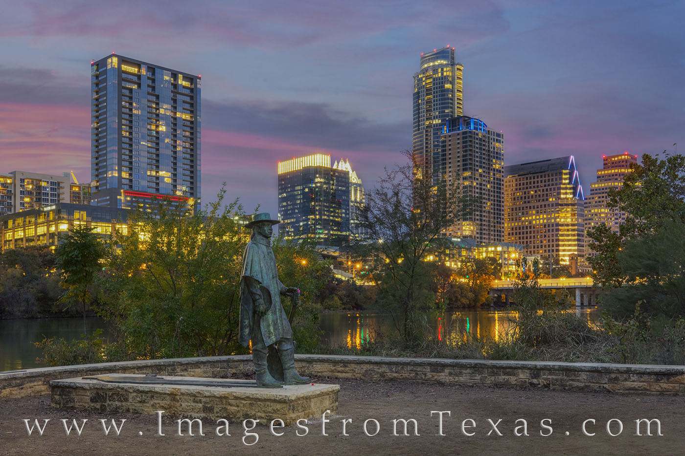 SRV statue, stevie ray vaughan, austin skyline, downtown austin, zilker park trail, zilker park, town lake, ladybird lake, austin icons, photo