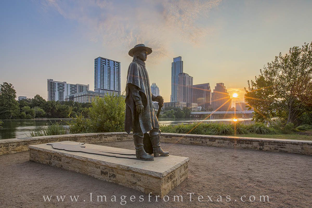 Austin Texas, austin images, austin skyline, SRV statue, Stevie Ray Vaughan, austin skyline pictures, austin sunrise, photo
