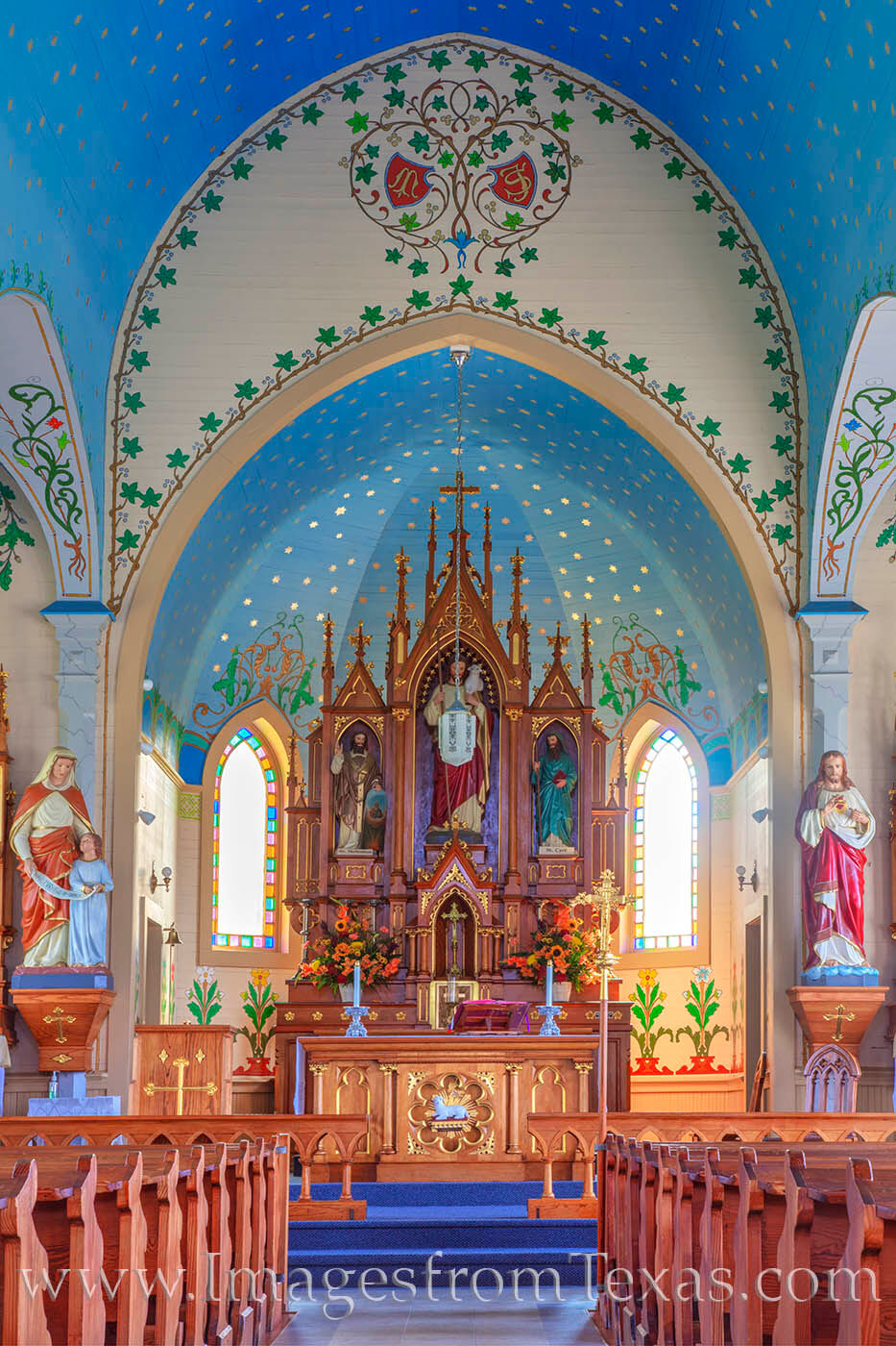 The light blue ceiling of Dubina's Saint Cyril and Methodius Church is sprinkled with stars, and oak leaves and twisting vines...