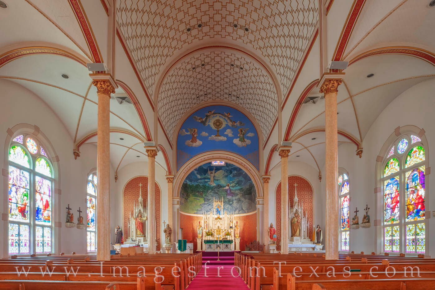 painted church, shiner, gothic, saint cyril, methodius, catholic church, texas history, czech, german, stained glass, frescoes