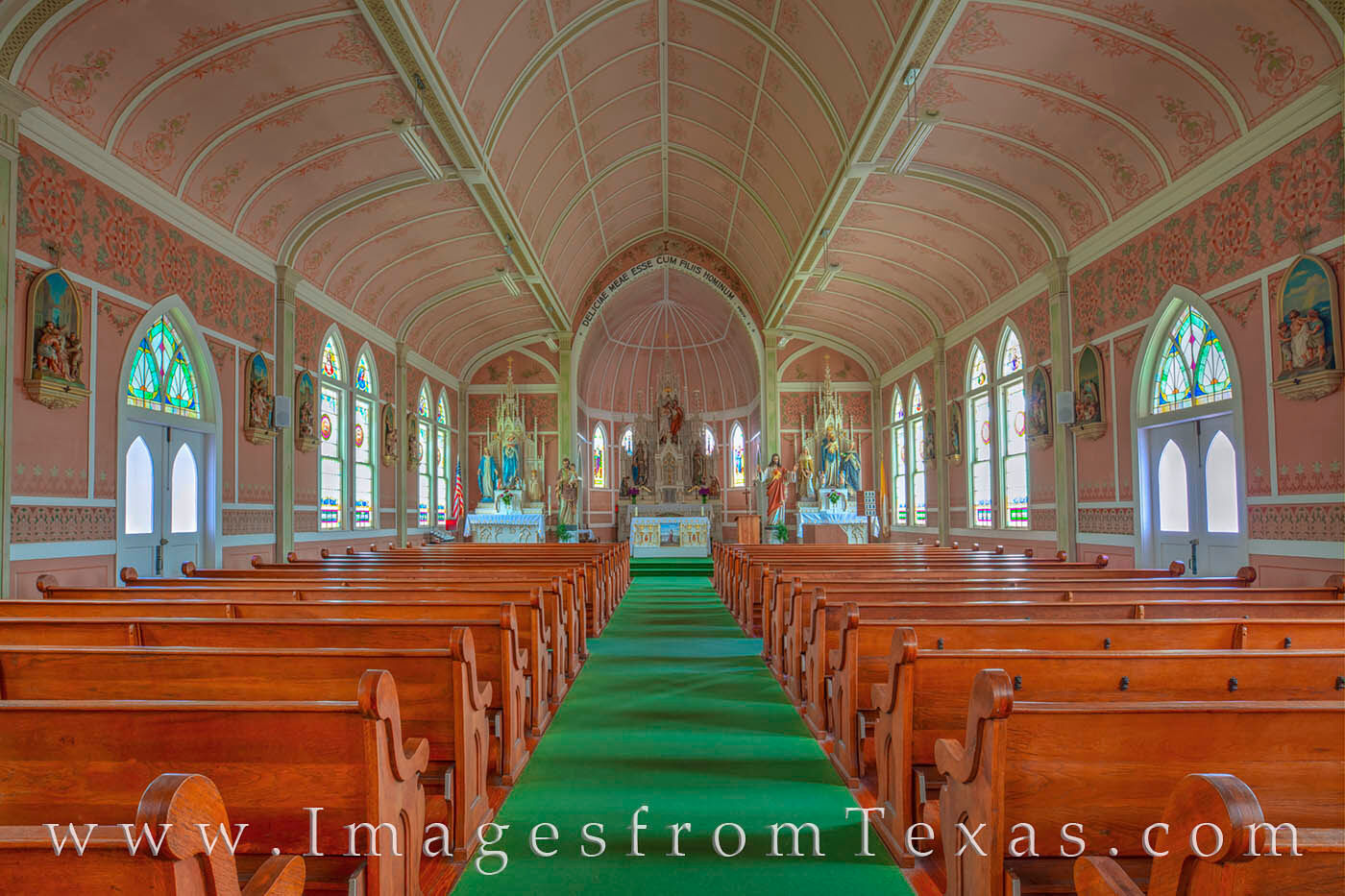 """St. John the Baptist Catholic Church in Ammannsville, Texas, was built in 1917. Known as the """"Pink Church,"""" this parish was..."""