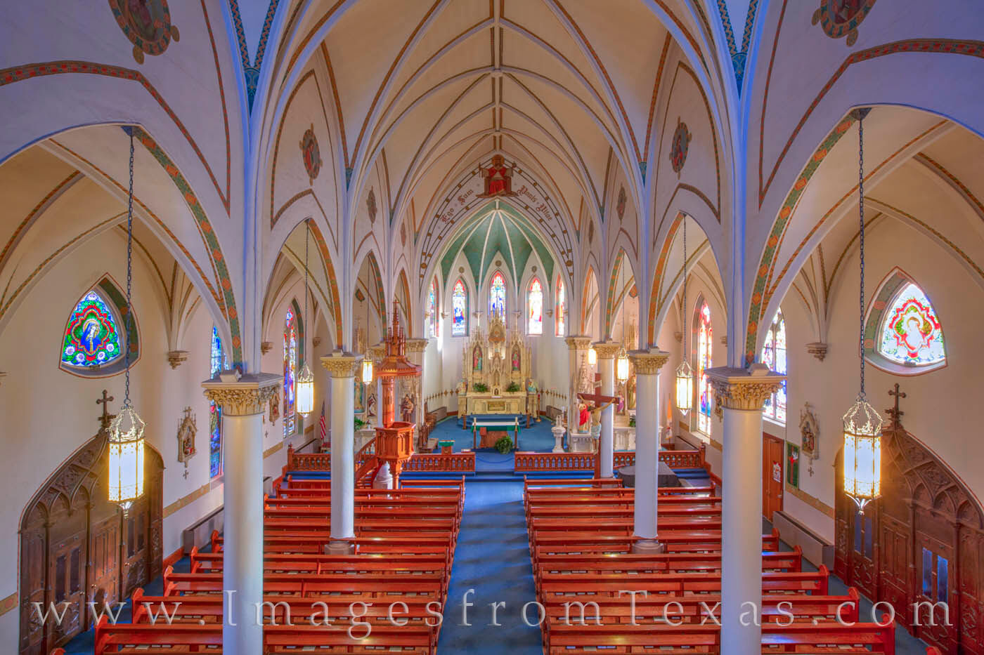 Constructed in 1906, St. Mary's Catholic Church is one of the Painted Churches of central Texas. Seen here from the balcony...
