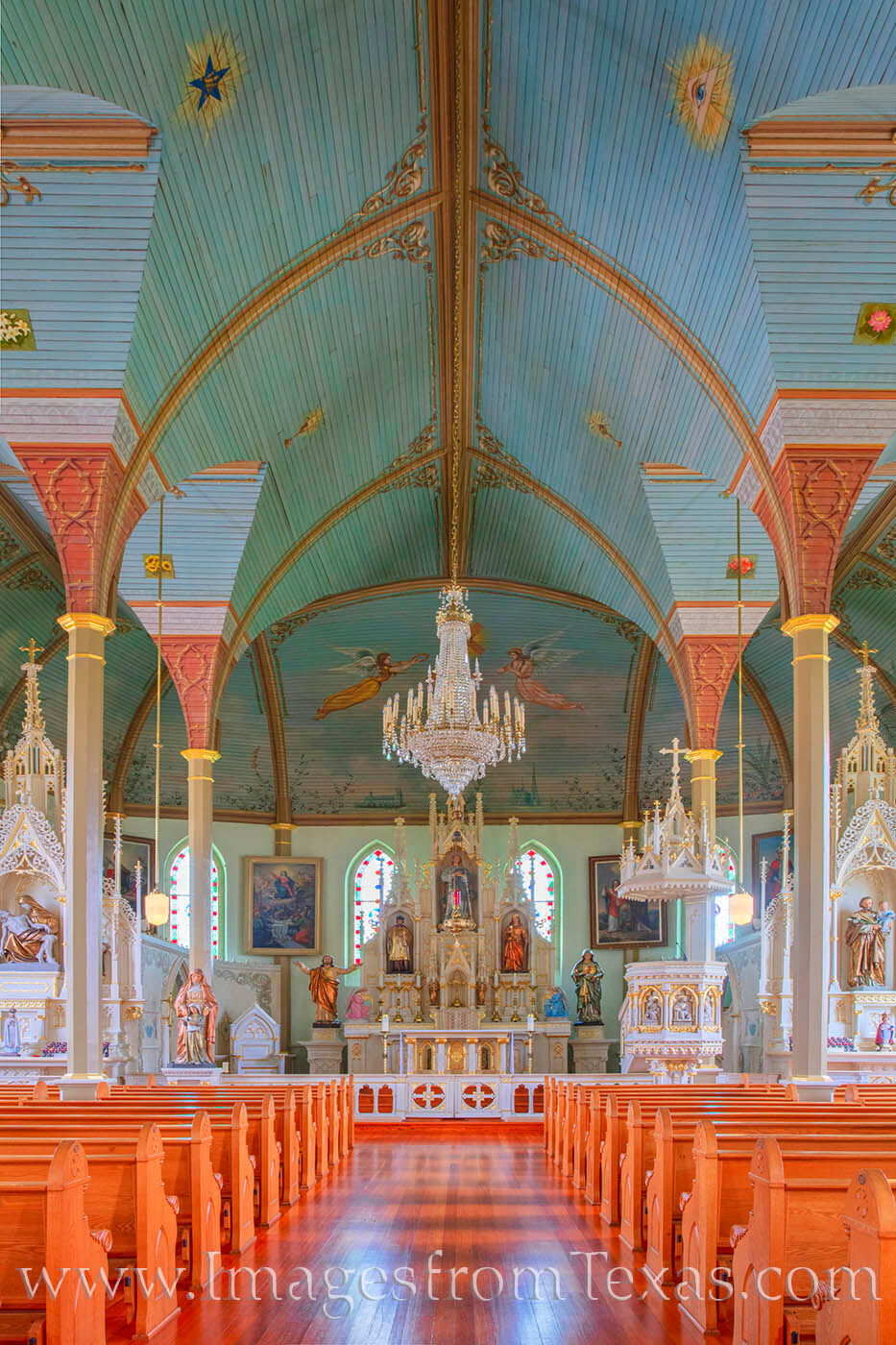 St. Mary's Church of the Assumption is one of the famous Painted Churches of Texas. Found in Fayette County east of the Hill...