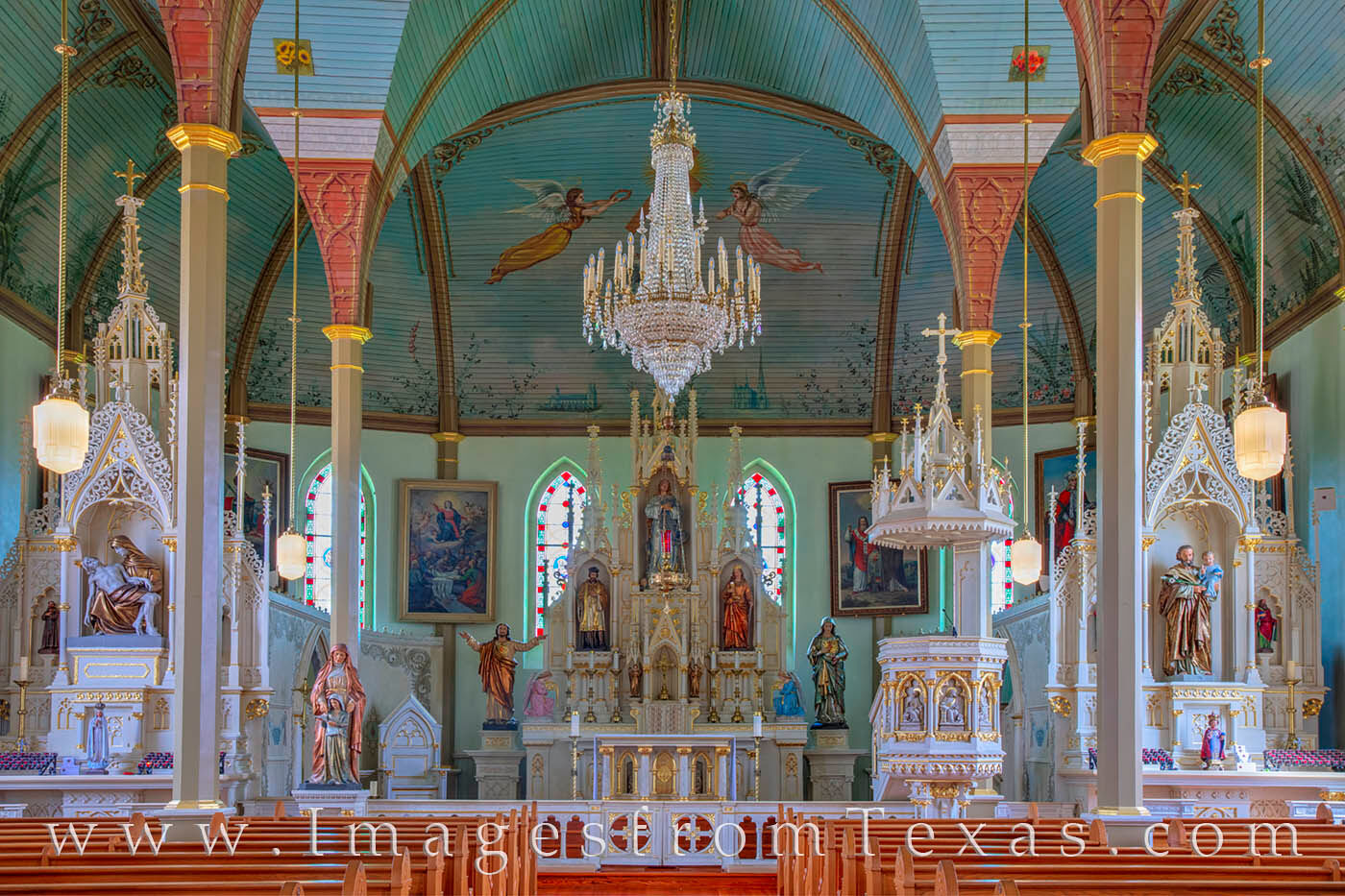 Built in 1895, St. Marys Catholic Church in Praha, Texas, is one of the oldest of the Painted Churches. The interior is an hand...