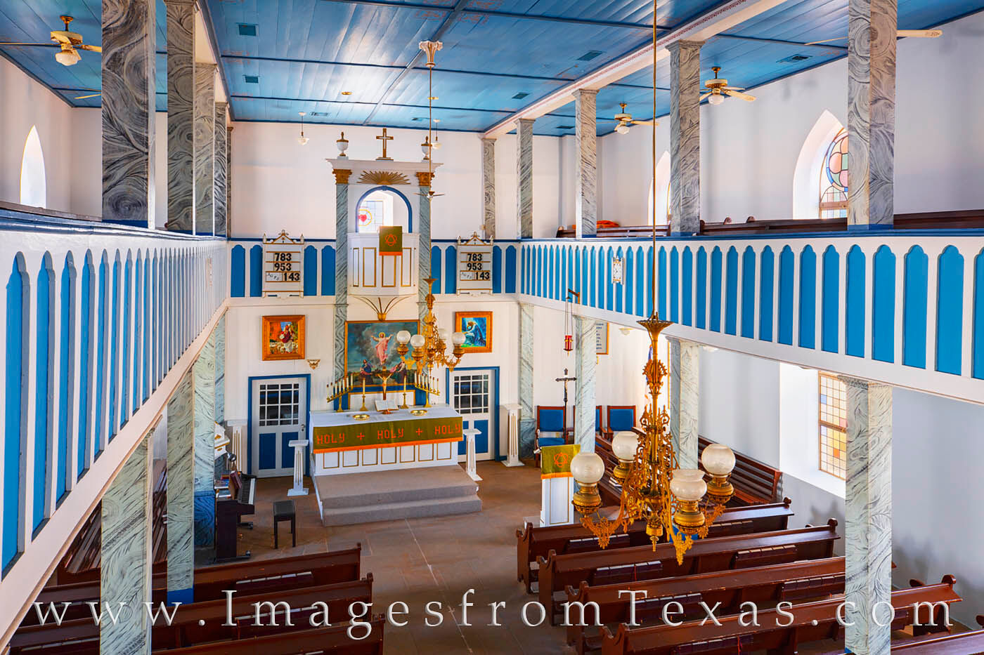 Taken from the corner of the balcony, this view shows St. Paul Lutheran Church in Serbin, Texas. As one of the famed and historical...