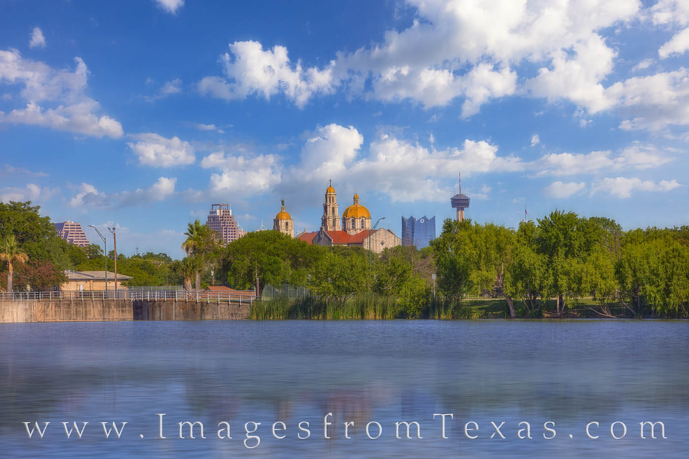 skyline, san antonio, downtown, woodlawn lake, telephoto lens, tower of americas, frost tower, afternoon, photo