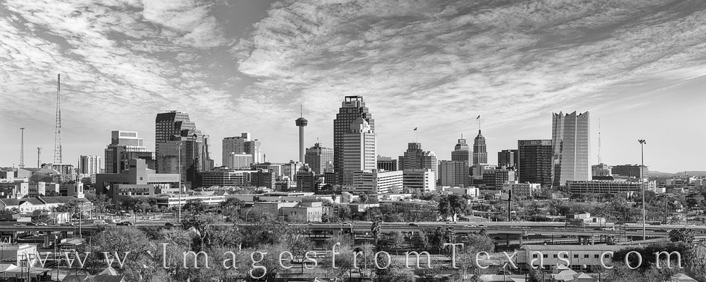 This black and white panorama shows the San Antonio skyline on a cool January afternoon. The late day clouds drifted across the...
