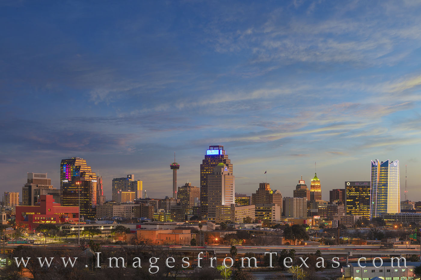 san antonio skyline, downtown, tower of the americas, frost tower, tower of life, evening, photo
