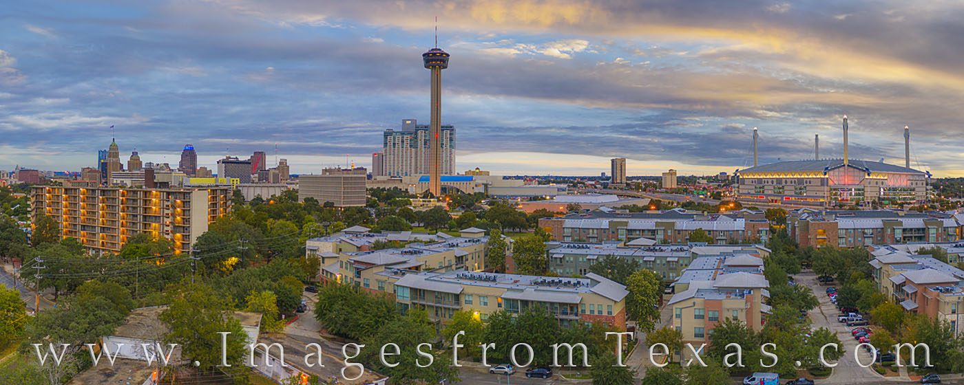 san antonio, skyline, Tower of the Americas, Alamodome, sunrise, san antonio skyine, panorama