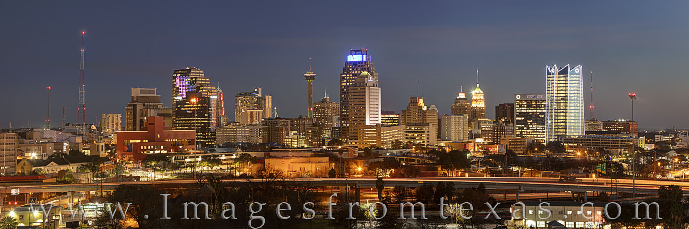 san antonio skyline, high rise, skyscraper, tower of the americas, frost tower, frost, skyline, downtown, evening, panorama, texas skyline, photo