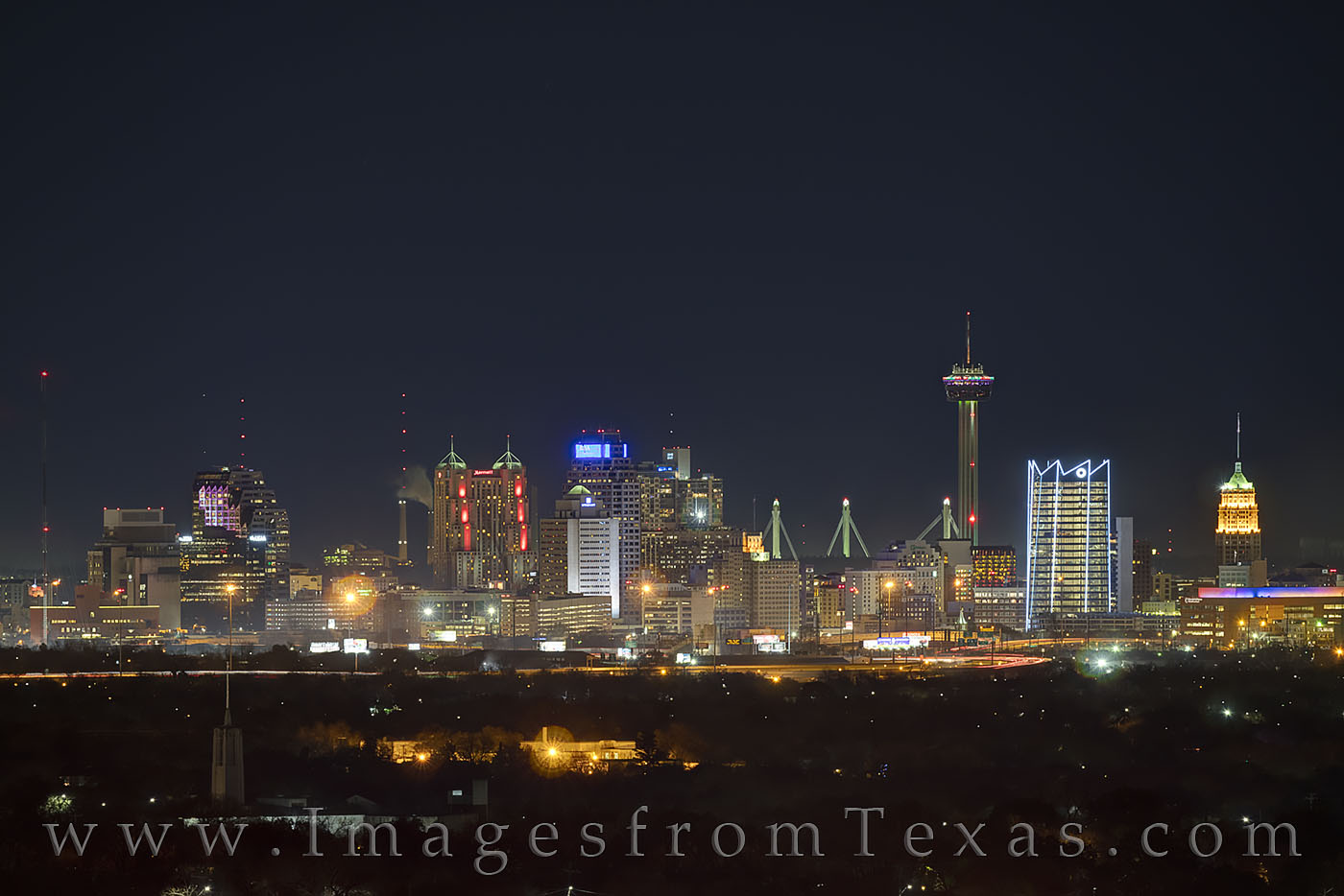 san antonio, skyline, frost tower, frost bank, tower of the americas, tower, night, high rises, texas skylines, winter, photo