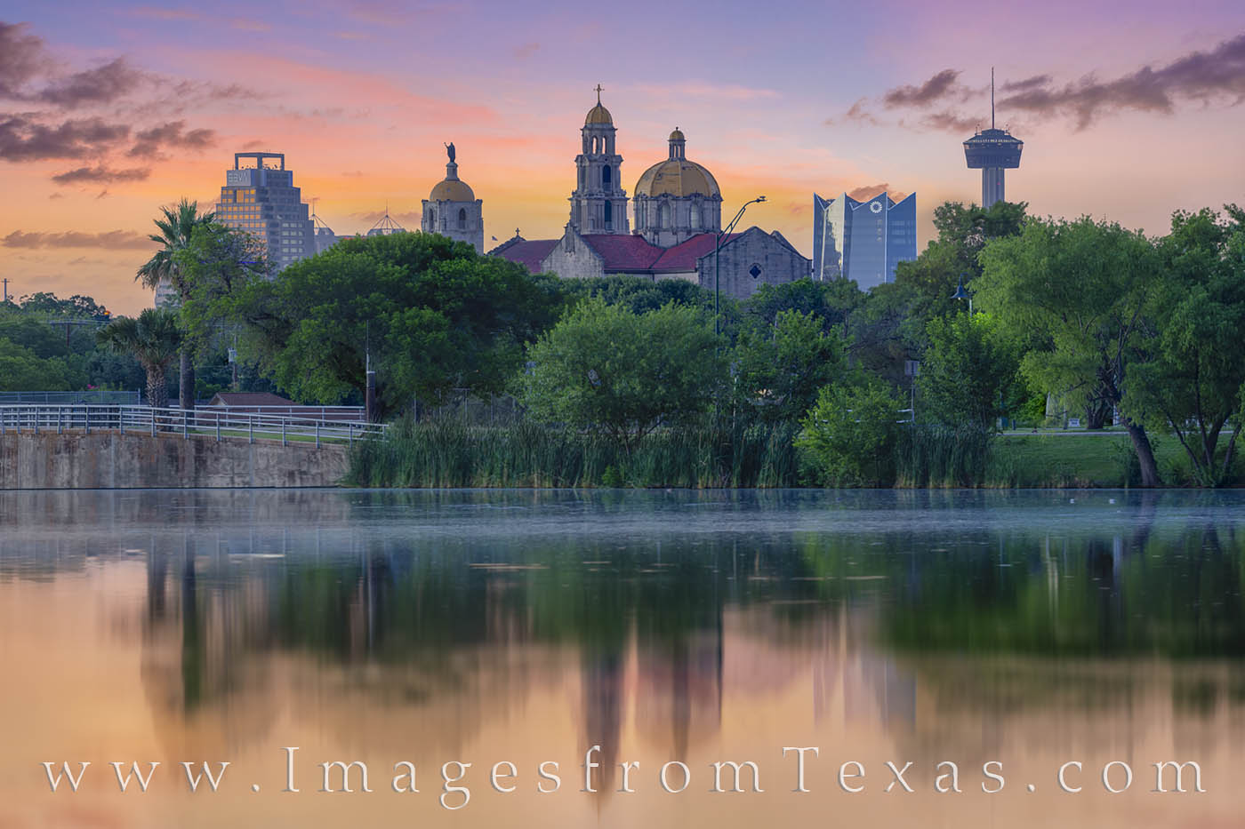 san antonio, skyline, woodlawn lake, tower of the americas, frost tower, reflection, morning, sunrise