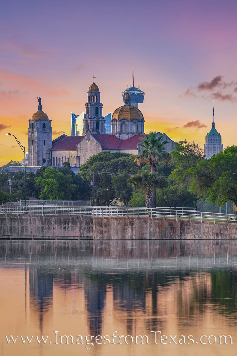 san antonio, skyline, woodlawn lake, tower of the americas, tower of life, frost tower, Basilica of the National Shrine of the Little Flower, photo