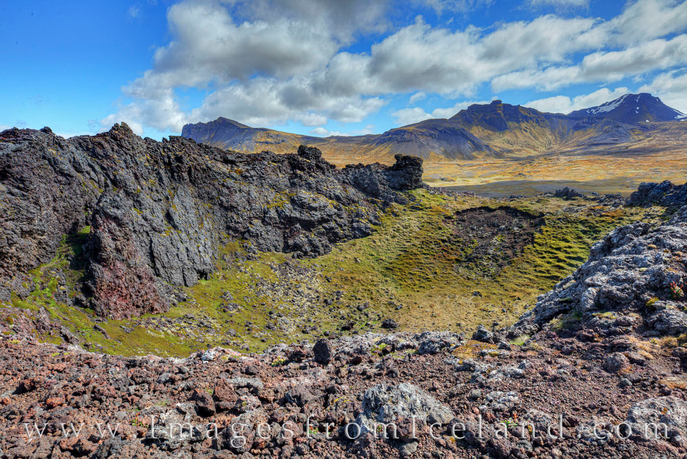 About 5.5 miles south of Hellissandur in the Snæfellsnes Peninsula, Saxhóll Crater is one of the best examples of an extinct...