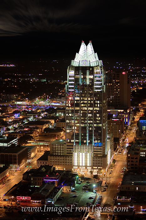As a well known part of the Austin skyline, the Frost Tower has unique architecture and is a beautiful high rise at night.